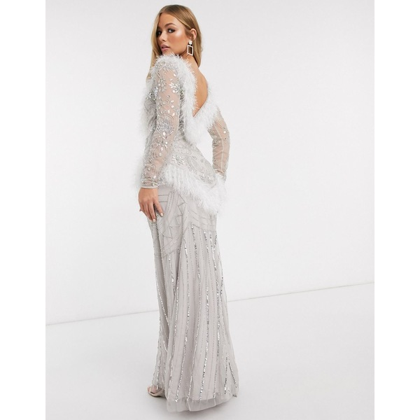 フロック レディース ワンピース トップス Frock and Frill Club faux feather maxi gown with embellishment in white White