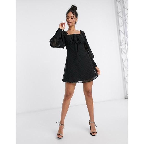 ミスガイデッド レディース ワンピース トップス Missguided square neck dobby mesh skater dress in black Black