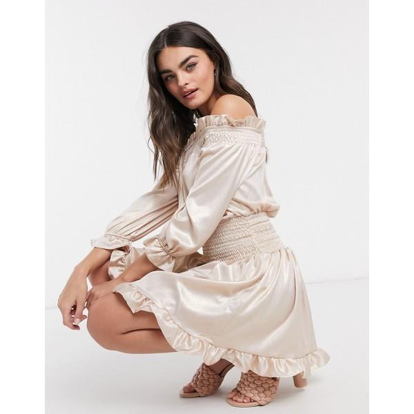 エイソス レディース ワンピース トップス ASOS DESIGN shirred mini dress with pephem in blush Blush
