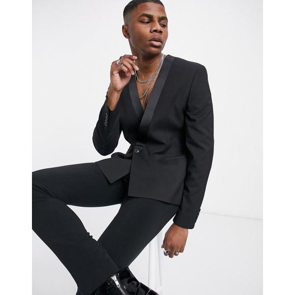 ASOS DESIGN blazer アウター skinny black in collarless メンズ Black エイソス ジャケット&ブルゾン