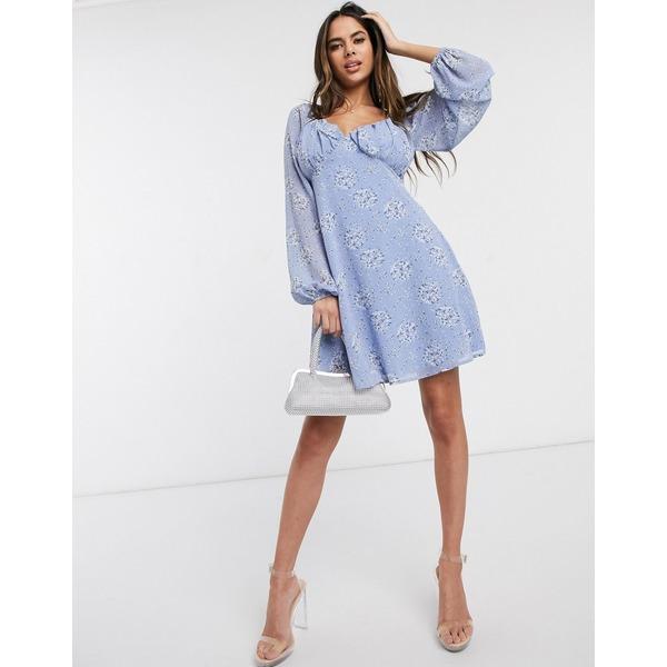 ミスガイデッド レディース ワンピース トップス Missguided milkmaid skater dress in blue floral print Multi