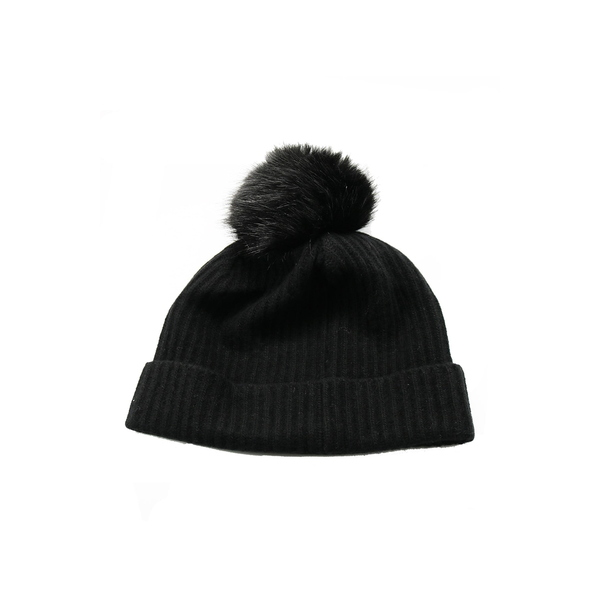 超激安 ポートラノ レディース アクセサリー 帽子 BLK 超特価SALE開催 全商品無料サイズ交換 Fur Faux Pompom Beanie Cashmere