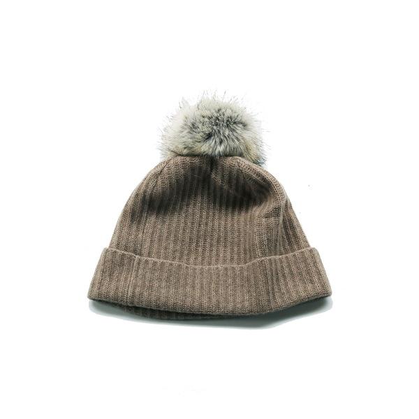 ポートラノ レディース アクセサリー 帽子 NILE 本日の目玉 BROWN Faux Fur 日時指定 Pompom Cashmere 全商品無料サイズ交換 Beanie