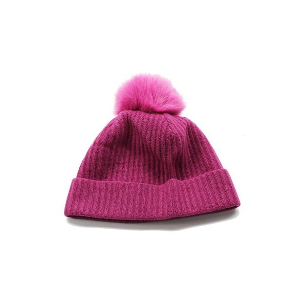 ポートラノ レディース アクセサリー 帽子 VERYBERRY 全商品無料サイズ交換 Fur Beanie Cashmere 売れ筋ランキング Faux 有名な Pompom