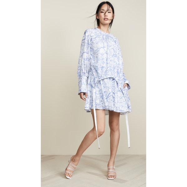 ティビ レディース ワンピース トップス Short Shirtdress White/Blue Multi