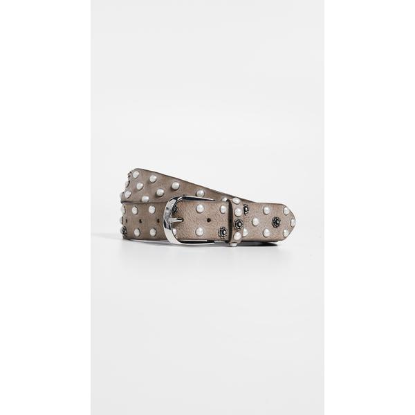 ビーベルト レディース ベルト アクセサリー Vintage Imitation Pearl / Flower Stud Belt Taupe Grey