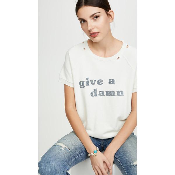 アモ レディース パーカー・スウェットシャツ アウター Give A Damn Short Sleeve Sweatshirt Vintage White
