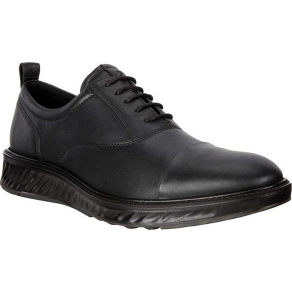 エコー メンズ ドレスシューズ シューズ ST.1 Hybrid Dri-Tan Cap Toe Oxford Black Dri-Tan Full Grain Leather