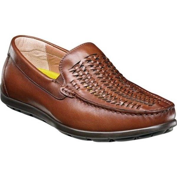 フローシャイム メンズ ブーツ&レインブーツ シューズ Draft Moc Toe Woven Vamp Driver Cognac Smooth Leather
