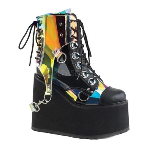 デモニア レディース ブーツ&レインブーツ シューズ Swing 115 Ankle Boot Black Vegan Leather/Patent/Multi PVC