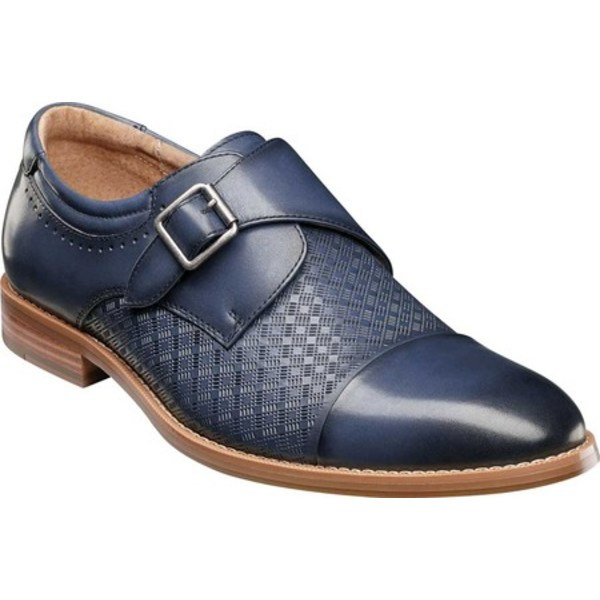 ステイシーアダムス メンズ ドレスシューズ シューズ Fenwick Cap Toe Monkstrap Blue Smooth Leather