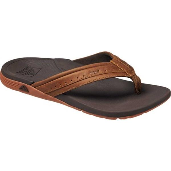 リーフ メンズ サンダル シューズ Leather Ortho-Spring Flip Flop Brown Leather
