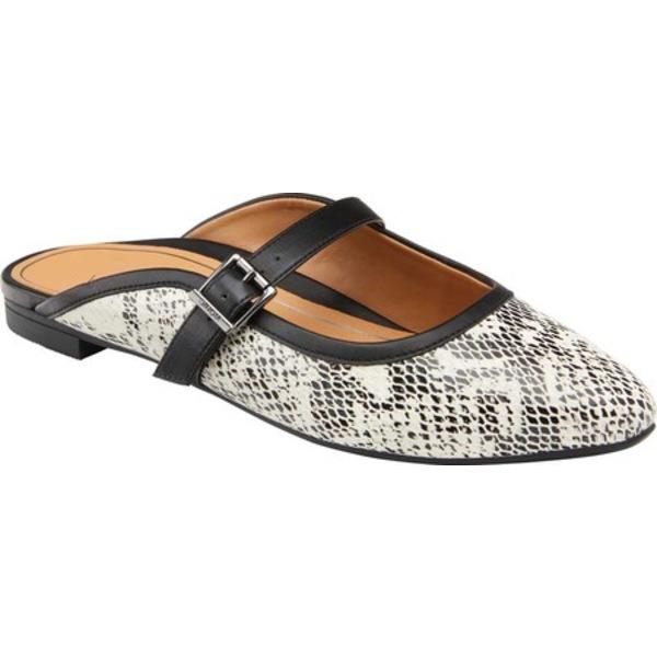 バイオニック レディース サンダル シューズ Esme Flat Mule White/Black Snake Skin Leather
