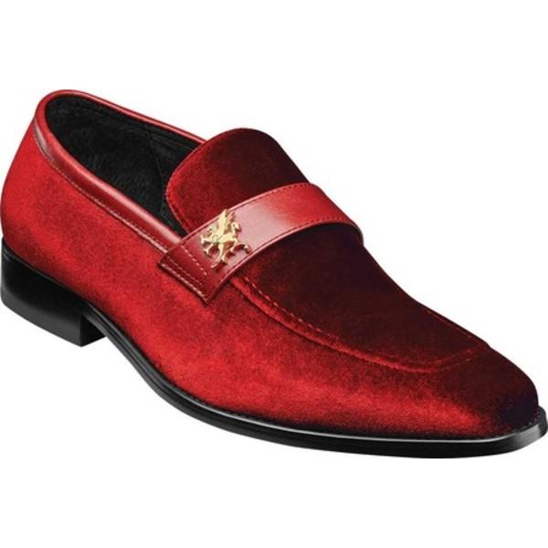 ステイシーアダムス メンズ ドレスシューズ シューズ Bellino Loafer Red Velour/Leather