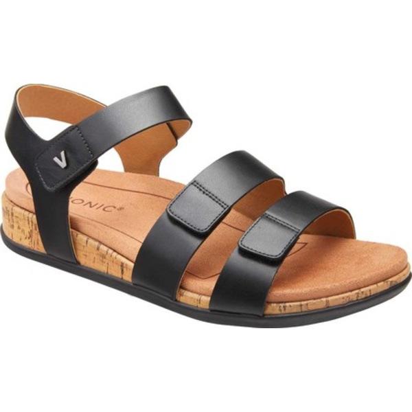 バイオニック レディース サンダル シューズ Colleen Strappy Sandal Black Leather