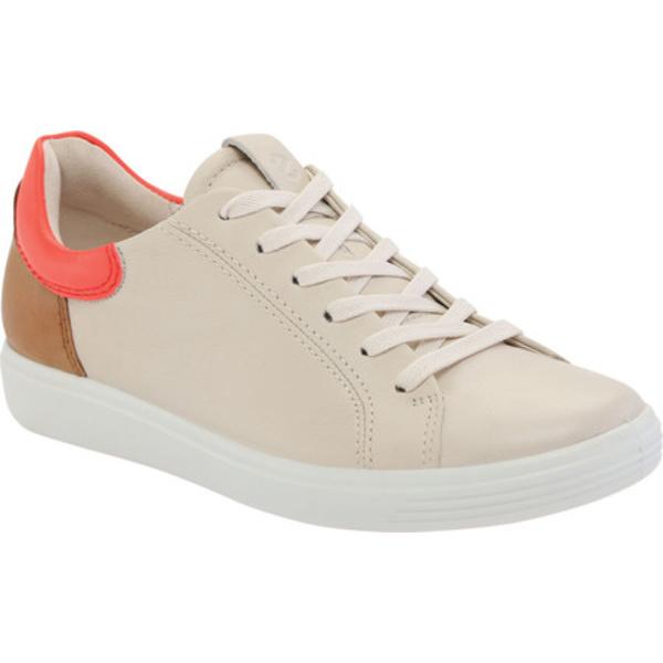 エコー レディース スニーカー シューズ Soft 7 Street Sneaker Vanilla/Coral Neon/Lion Full Grain Leather