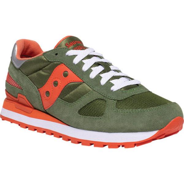 サッカニー メンズ スニーカー シューズ Shadow Original Sneaker Green/Orange Nylon/Suede