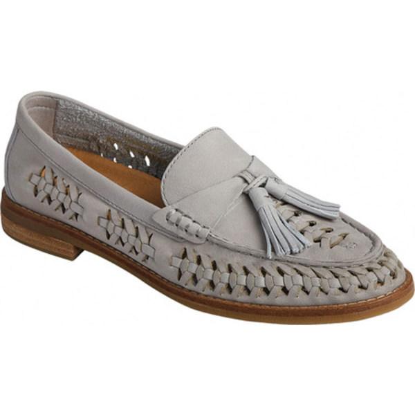 トップサイダー レディース スリッポン・ローファー シューズ Seaport PLUSHWAVE Woven Leather Kiltie Loafer Grey Leather