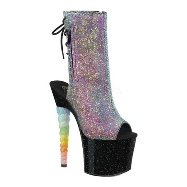 プリーザー レディース ブーツ&レインブーツ シューズ Unicorn 1018G Open Toe Ankle Boot Purple-Blue Glitter/Black Synthetic