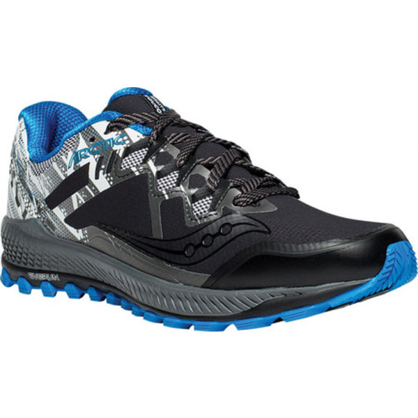 サッカニー メンズ スニーカー シューズ Peregrine 8 ICE+ Trail Running Sneaker Black/White/Blue