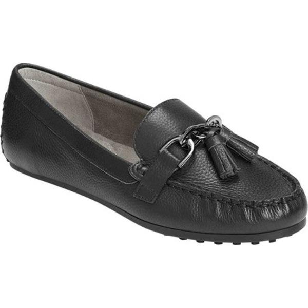 エアロソールズ レディース スリッポン・ローファー シューズ Platinum Soft Drive Loafer Black Leather