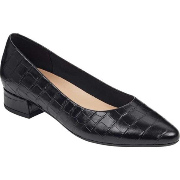 イージースピリット レディース スニーカー シューズ Caldise Pointed Toe Pump Black Croco Leather