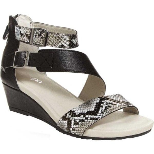 ジャンブー レディース サンダル シューズ Capri Ankle Strap Wedge Sandal Black/Snake Vintage Leather/Nubuck