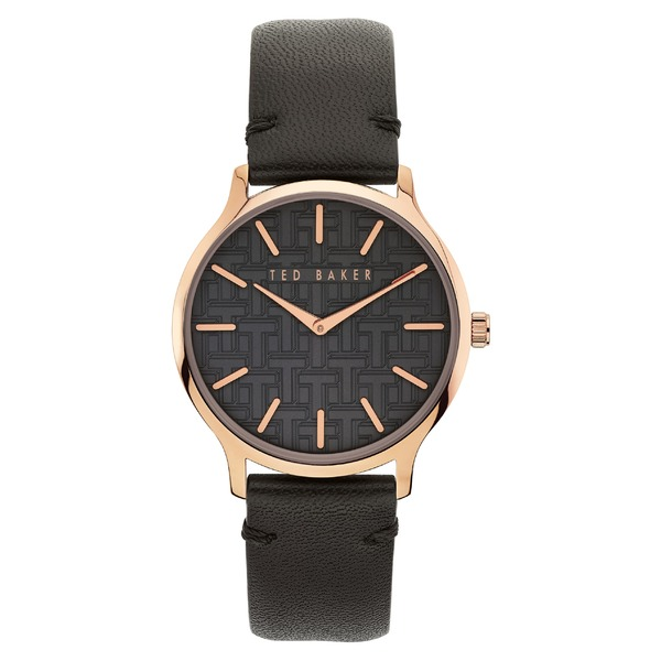 テッドベーカー レディース 腕時計 アクセサリー Ted Baker London Poppiey Leather Strap Watch, 38mm Black/ Rose Gold