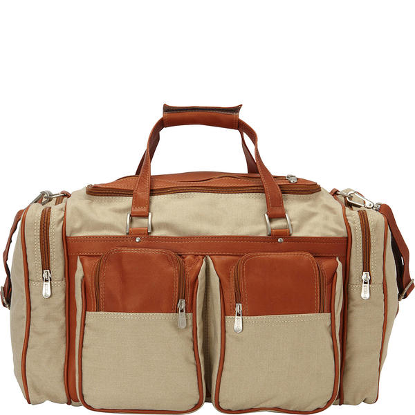 ピエール メンズ スーツケース バッグ 20in Duffel Bag with Pockets - Canvas and Leather 67800