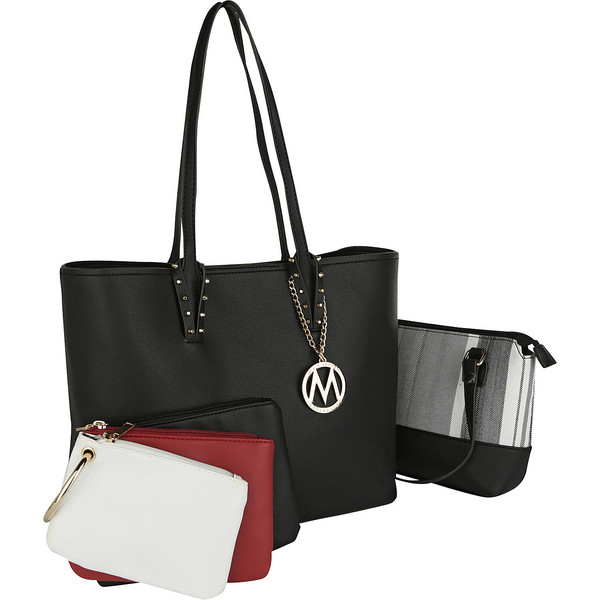 MKFコレクション メンズ トートバッグ バッグ 3 Piece Jackie Tote Shoulder Bag with Mini Tote and Wristlet Pouch Set 14480