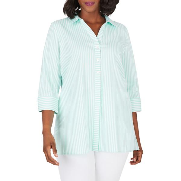 フォックスクラフト レディース シャツ トップス Pamela Day Stripe Stretch Button-Up Shirt Crme De Mint