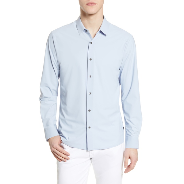 セブンダイヤモンド メンズ シャツ トップス Young Americans Slim Fit Button-Up Performance Shirt Dusty Blue