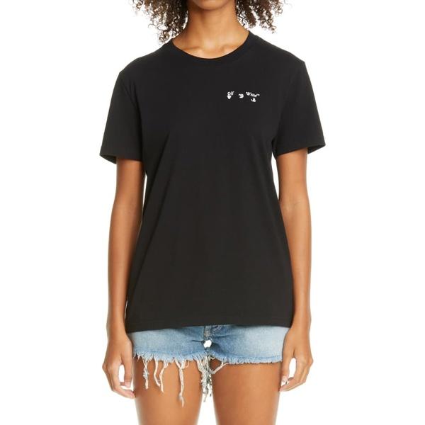 オフホワイト レディース Tシャツ トップス Logo Graphic Cotton Tee Black/ White