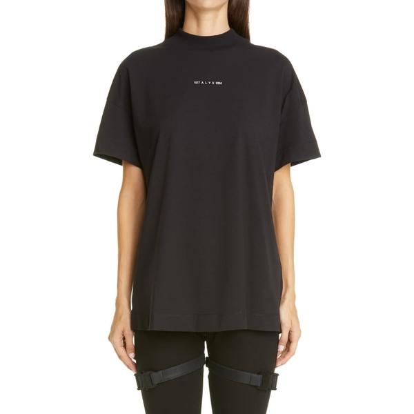 1017 アリクス 9 エスエム レディース Tシャツ トップス Visual Mock Neck Logo Tee Black
