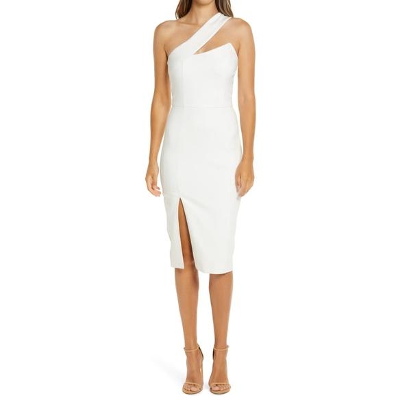 ラビッシュアリス レディース ワンピース トップス One-Shoulder Front Slit Cocktail Dress White
