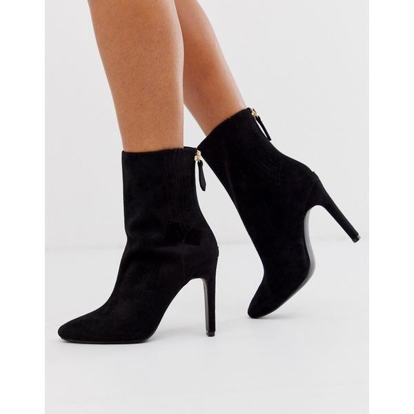 エイソス レディース ブーツ&レインブーツ シューズ ASOS DESIGN Enzo block heeled ankle boots in black Black