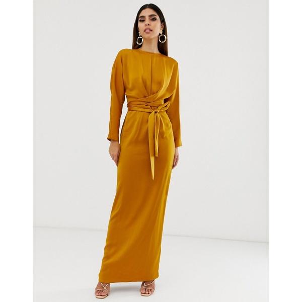 エイソス レディース ワンピース トップス ASOS DESIGN maxi dress with batwing sleeve and wrap waist in satin Mustard