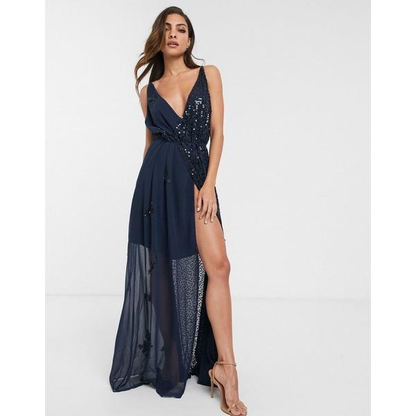 フレンチコネクション レディース ワンピース トップス French Connection cami sequin maxi dress Stella blue
