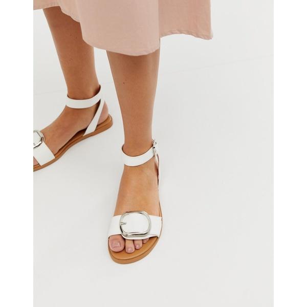 エイソス レディース サンダル シューズ ASOS DESIGN Flora flat sandals in white White