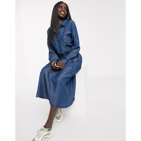 オアシス レディース ワンピース トップス Oasis denim midi shirt dress in dark wash blue Dark wash