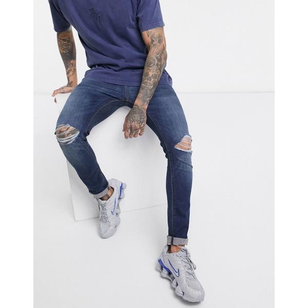 エイソス メンズ デニムパンツ ボトムス ASOS DESIGN super skinny jeans in dark wash with busted knees Dark wash blue