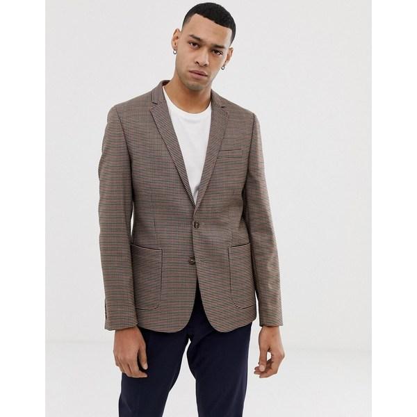 エイソス メンズ ジャケット&ブルゾン アウター ASOS DESIGN skinny blazer in brown micro check Brown