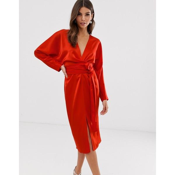 エイソス レディース トップス ワンピース Red 全商品無料サイズ交換 エイソス レディース ワンピース トップス ASOS DESIGN midi dress with batwing sleeve and wrap waist in satin Red