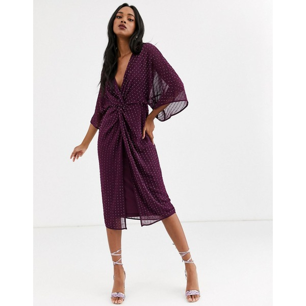 エイソス レディース ワンピース トップス ASOS DESIGN kimono midi dress in linear sequin Plum