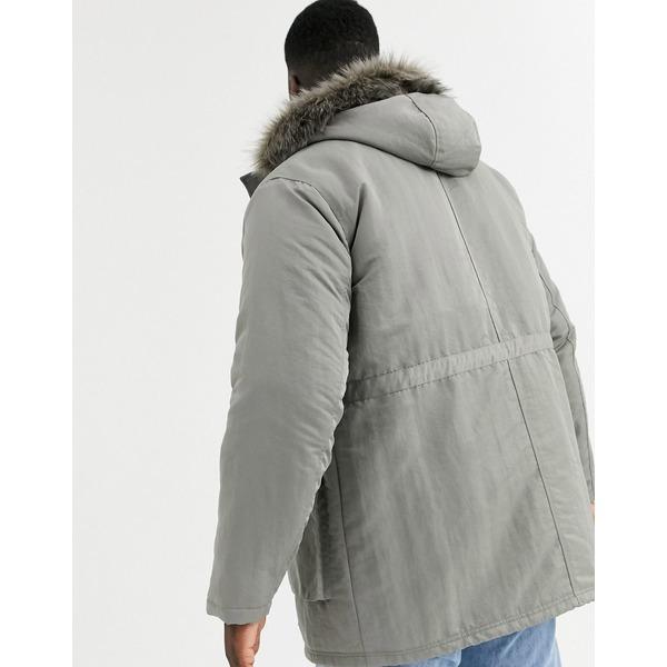 エイソス メンズ ジャケット&ブルゾン アウター ASOS DESIGN Plus parka jacket in gray with faux fur lining Gray