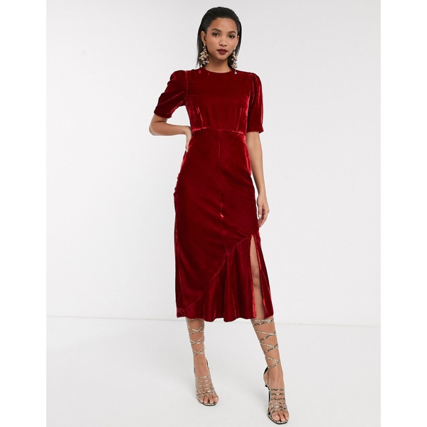 エイソス レディース ワンピース トップス ASOS DESIGN velvet bias midi dress with puff sleeves Red