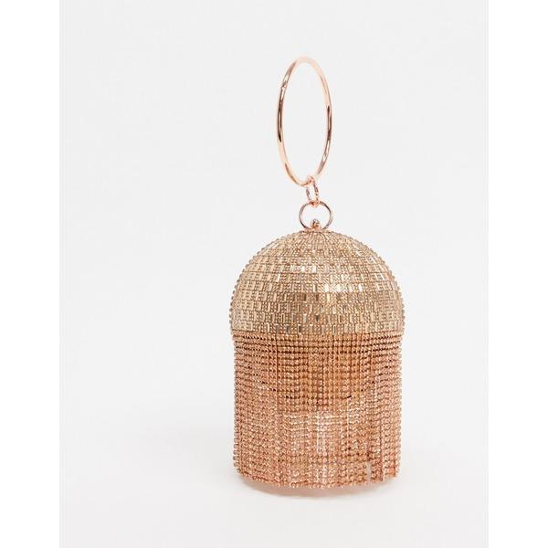 エイソス レディース 財布 アクセサリー ASOS DESIGN rose gold rhinestone fringe sphere bag Rose gold