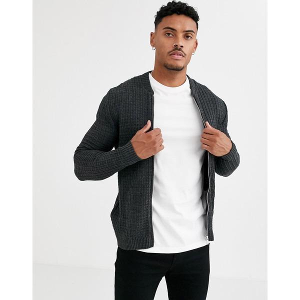 エイソス メンズ カーディガン アウター ASOS DESIGN muscle fit textured knit bomber jacket in charcoal Charcoal