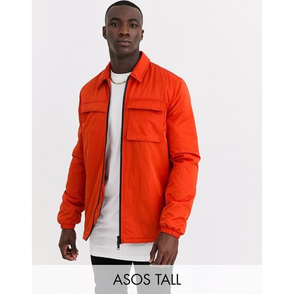 エイソス メンズ ジャケット&ブルゾン アウター ASOS DESIGN Tall quilted jacket with utility details in orange Orange