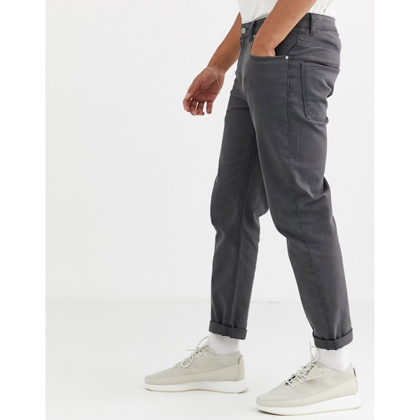 エイソス メンズ デニムパンツ ボトムス ASOS DESIGN rigid tapered jeans in flat dark gray with contrast stitch Gray